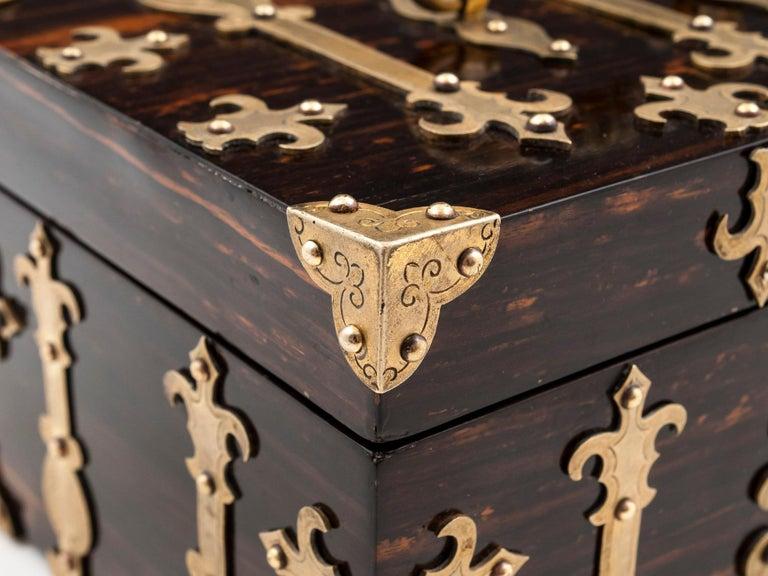 Coromandel Brass Trinket Jewelry Box with Brass Mounts, 20th Century For Sale 2
