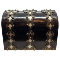 Coromandel Dome Top Desk Caddy with Gothic Quatrefoils, English, circa 1870