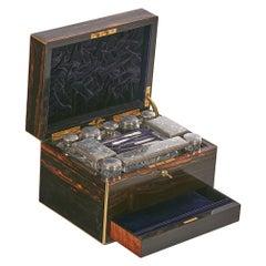 Coromandel Lady's Dressing Case by Morton & Bauer, Silver Lids Betjemanns & Sons