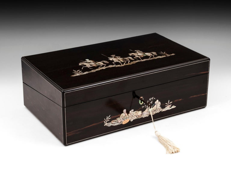 Coromandel Mother-of-Pearl Writing Box by W. C. Fuller, 19th Century For Sale 10
