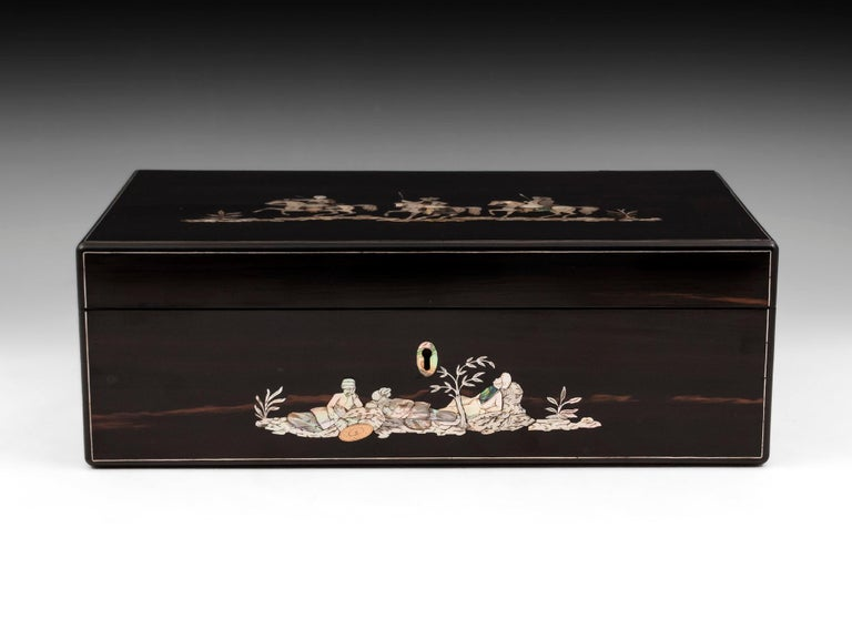 Victorian Coromandel Mother-of-Pearl Writing Box by W. C. Fuller, 19th Century For Sale