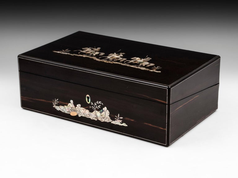 British Coromandel Mother-of-Pearl Writing Box by W. C. Fuller, 19th Century For Sale