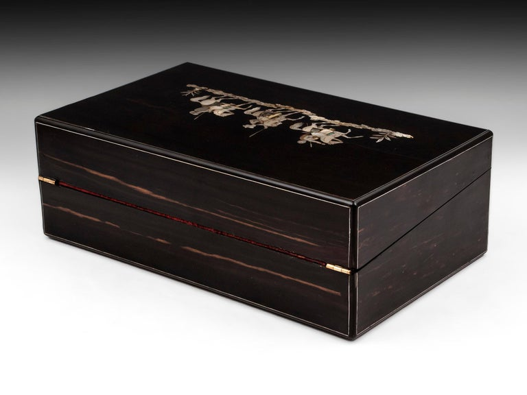 Coromandel Mother-of-Pearl Writing Box by W. C. Fuller, 19th Century In Good Condition For Sale In Northampton, United Kingdom