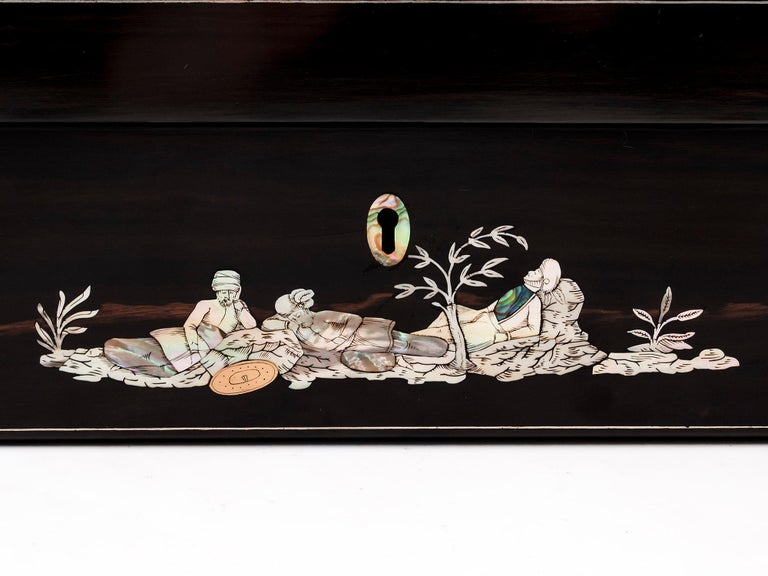 Brass Coromandel Mother-of-Pearl Writing Box by W. C. Fuller, 19th Century For Sale