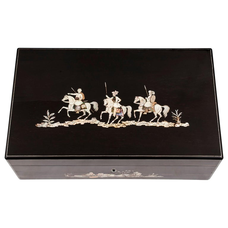 Coromandel Mother-of-Pearl Writing Box by W. C. Fuller, 19th Century For Sale
