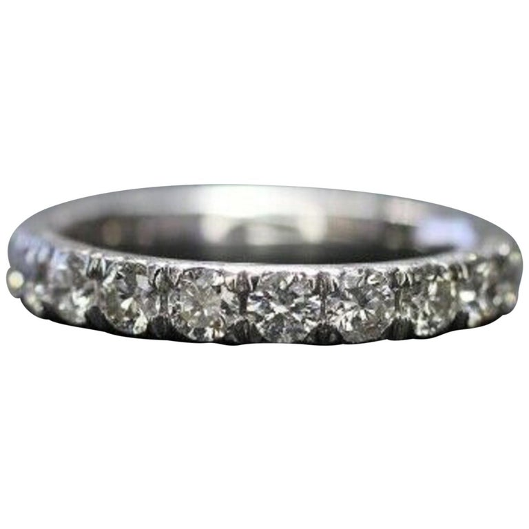 Corona 18 Karat White Gold Diamond Eternity Ring 1.50 Carat For Sale