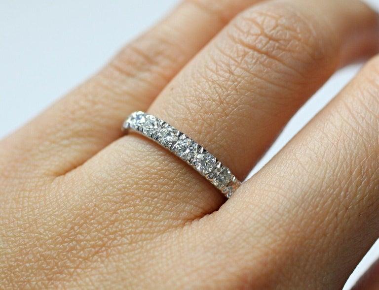 Contemporary Corona 18 Karat White Gold Diamond Eternity Ring 1.50 Carat For Sale