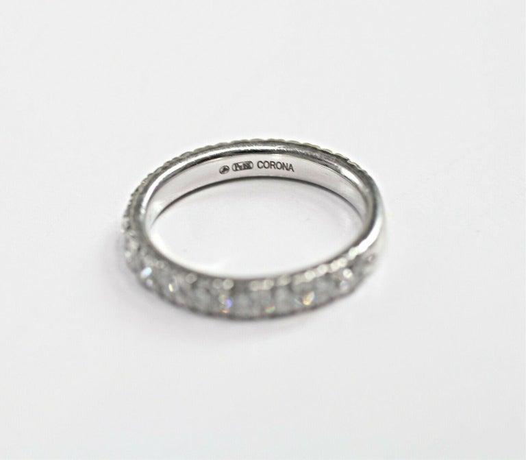 Round Cut Corona 18 Karat White Gold Diamond Eternity Ring 1.50 Carat For Sale