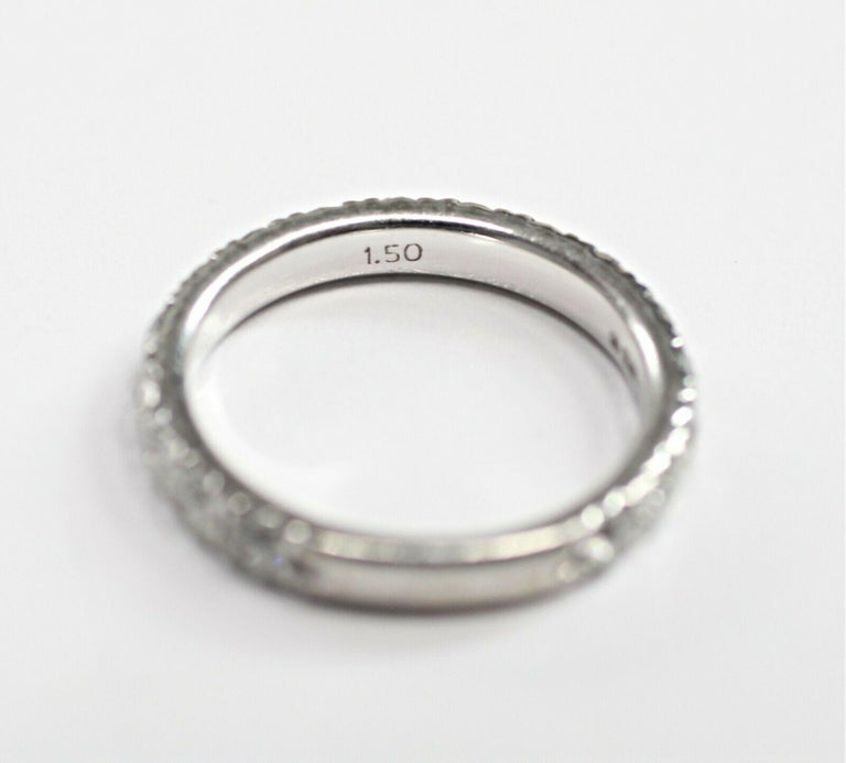 Corona 18 Karat White Gold Diamond Eternity Ring 1.50 Carat In Excellent Condition For Sale In Los Angeles, CA
