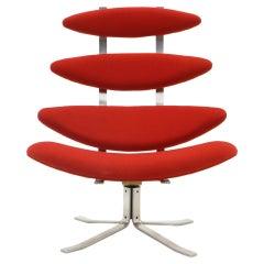 Corona Stuhl von Poul Volther, New Knoll Rote Polsterung, Hohe Rückenlehne, Drehbar