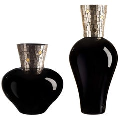 Corona Diadema Vases Black and White Gold