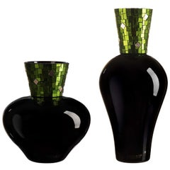 Corona Diadema Vases Black, Green and Gold