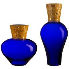 Corona Diadema Vases Blue and Yellow