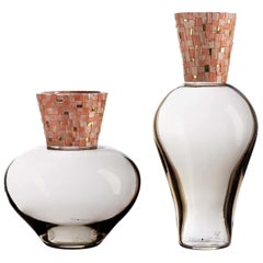 Corona Diadema Vases Gray and Pink