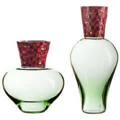 Corona Diadema Vases Green and Red