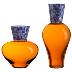 Corona Diadema Vases Orange and Blue
