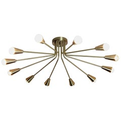 Corona Flush Mount Light Fixture in Brass by Blueprint Lighting