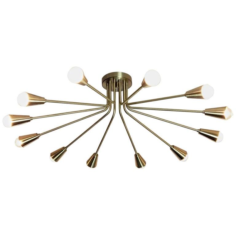 Corona Flush Mount Light Fixture in Brass by Blueprint Lighting For Sale