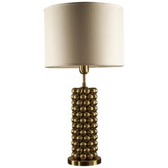 Corona Tall Table Lamp, Solid Brass Spheres Design, Florence Made