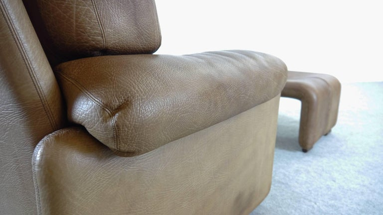 Coronado Chair with Footrest in Brown Leather, Tobia Scarpa for B&B Italia, 1966 For Sale 7