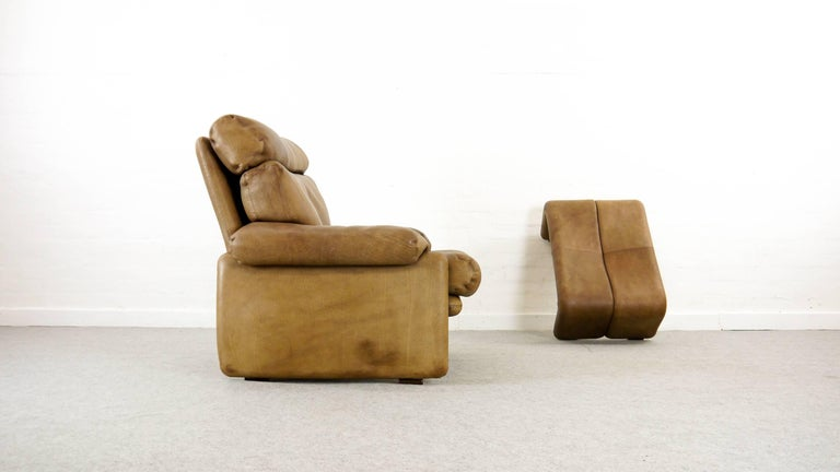 Coronado Chair with Footrest in Brown Leather, Tobia Scarpa for B&B Italia, 1966 In Good Condition For Sale In Halle, DE