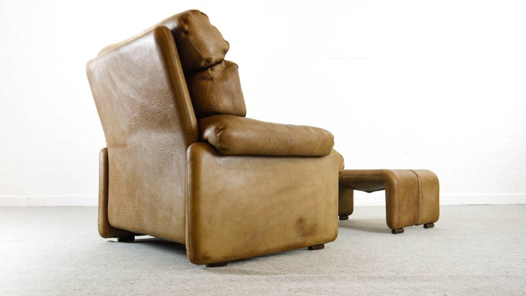 Coronado Chair with Footrest in Brown Leather, Tobia Scarpa for B&B Italia, 1966 For Sale 1