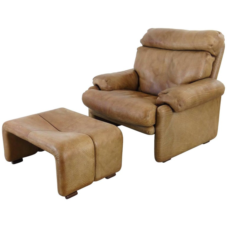 Coronado Chair with Footrest in Brown Leather, Tobia Scarpa for B&B Italia, 1966 For Sale