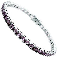 Pink Sapphire 6.05 Carats 18Kt White Gold Corone Collection Tennis Bracelet