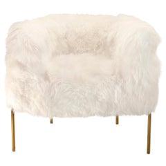 Coronum Armchair in White Sheepskin & Gold Metal by Artefatto Design Studio