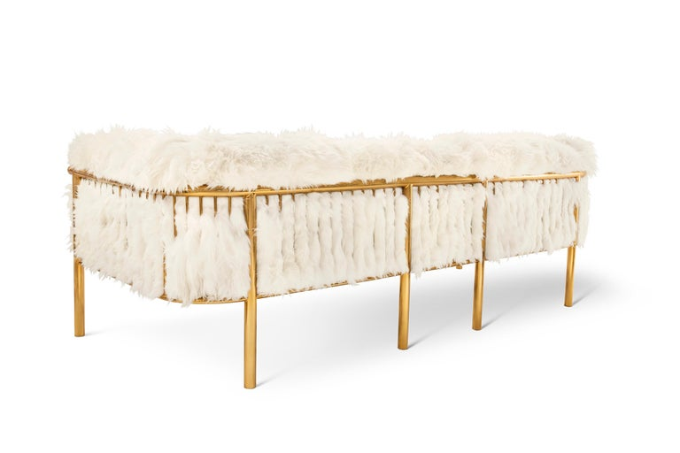 Modern Coronum Sofa Upholstered in Sheepskin with Gold Metal Finishes  For Sale