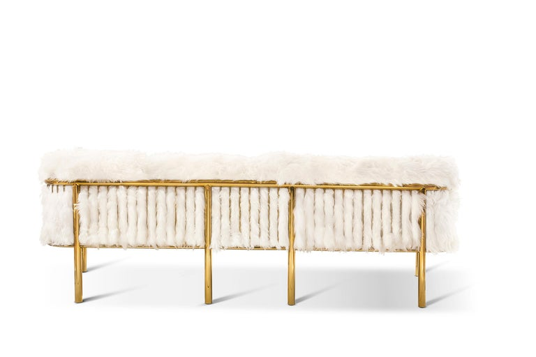 Indian Coronum Sofa Upholstered in Sheepskin with Gold Metal Finishes  For Sale