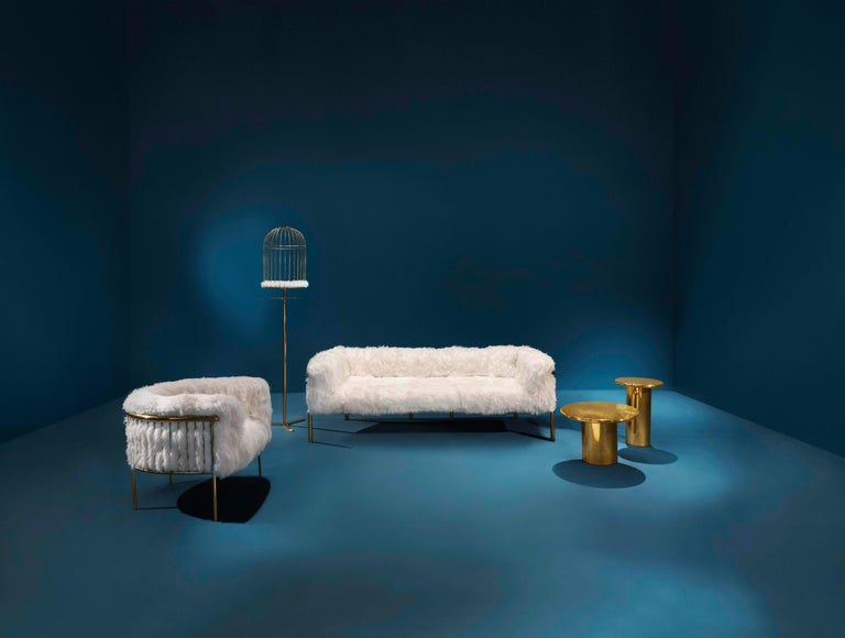 Coronum Sofa Upholstered in Sheepskin with Gold Metal Finishes  In New Condition For Sale In New York, NY
