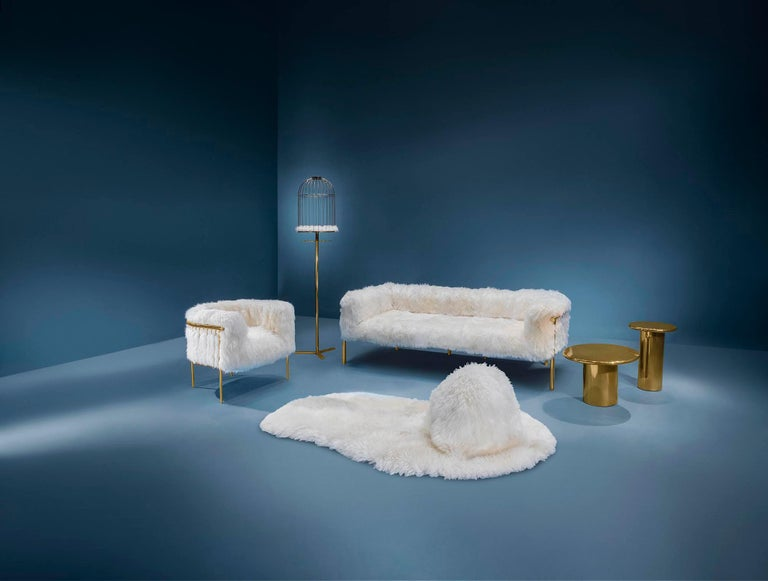 Contemporary Coronum Sofa Upholstered in Sheepskin with Gold Metal Finishes  For Sale