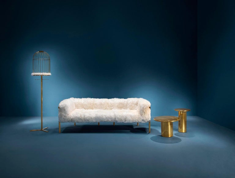 Coronum Sofa Upholstered in Sheepskin with Gold Metal Finishes  For Sale 1