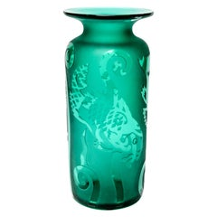 Correia Modern Etched Art Glass Vase with Fish Motif