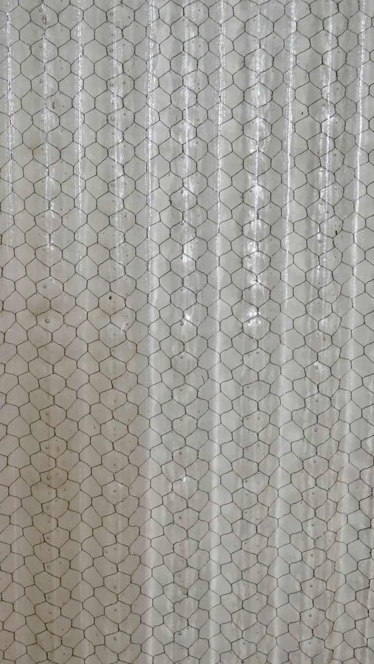 Corrugated Chicken Wire Glass Panels In Good Condition For Sale In Kensington, MD