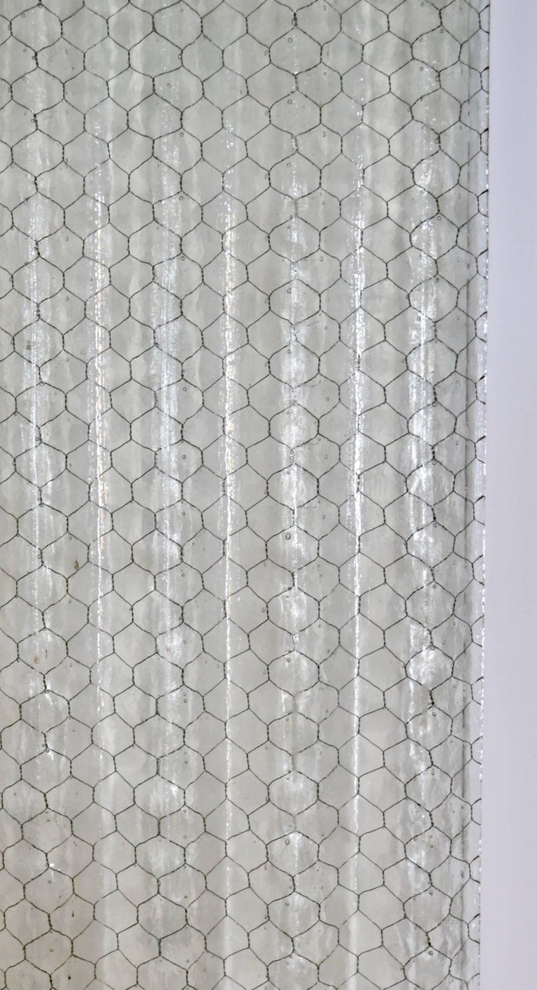 Mid-20th Century Corrugated Chicken Wire Glass Panels For Sale