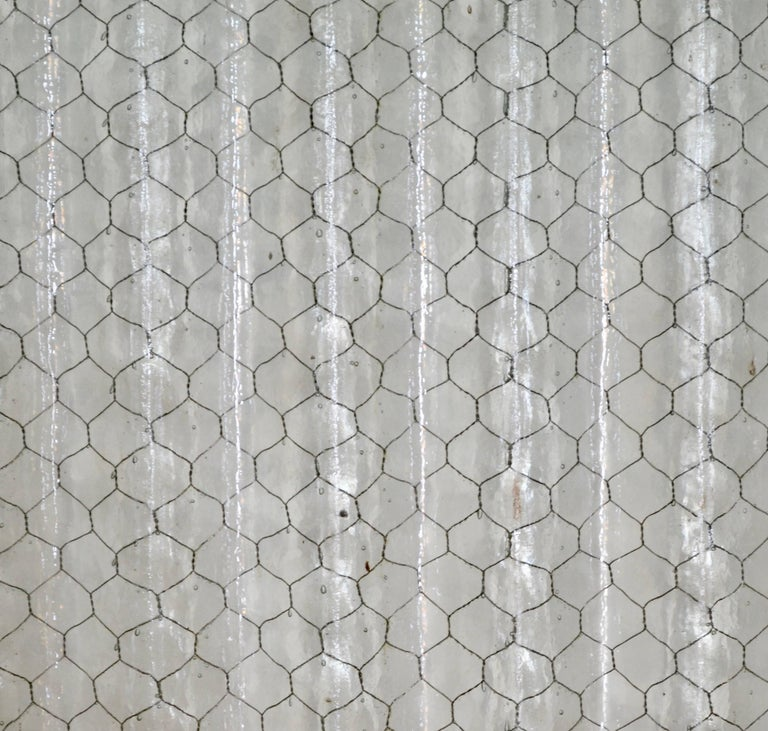 Corrugated Chicken Wire Glass Panels For Sale 1