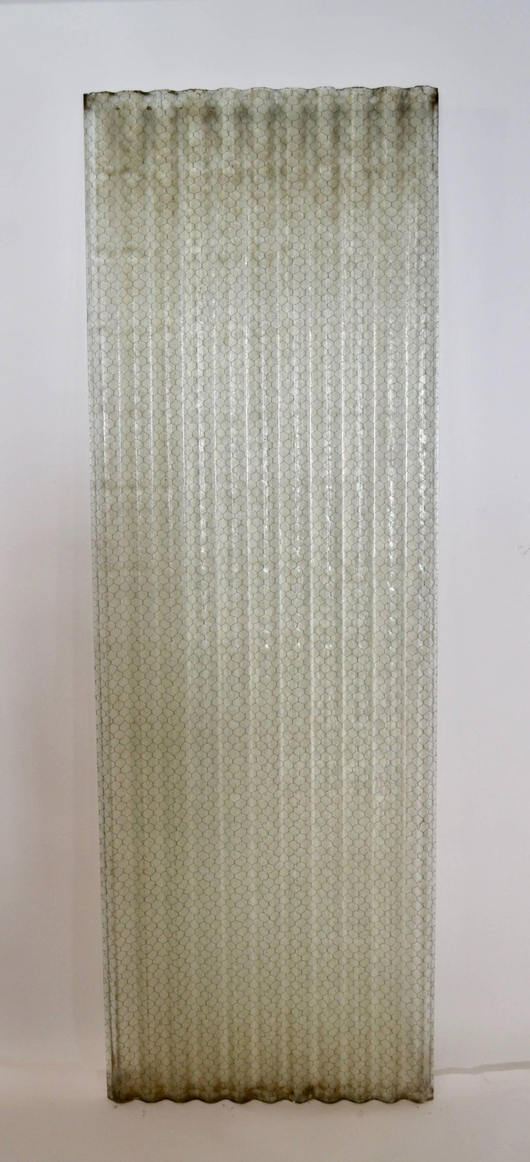 Corrugated Chicken Wire Glass Panels For Sale 2