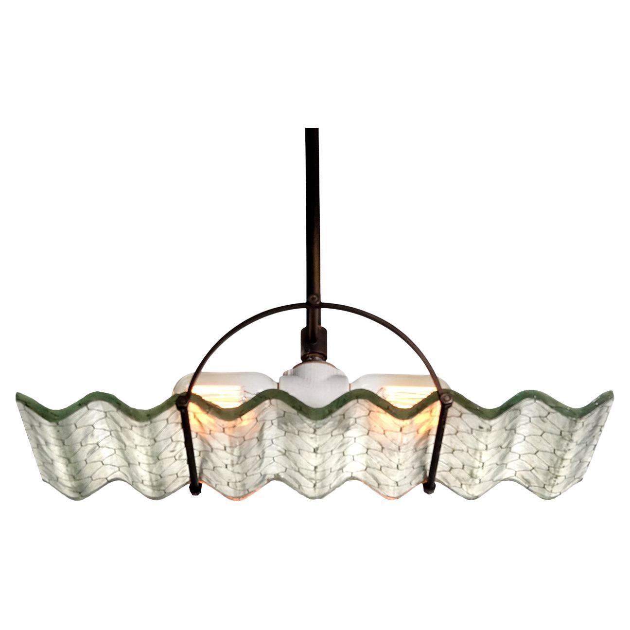 Corrugated Wire Glass Lamp