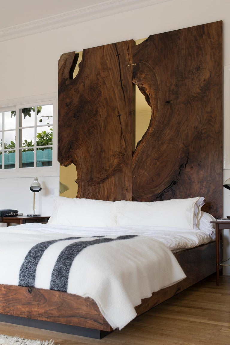 Organic Modern Corset Bed in Polished Brass and California Walnut  For Sale