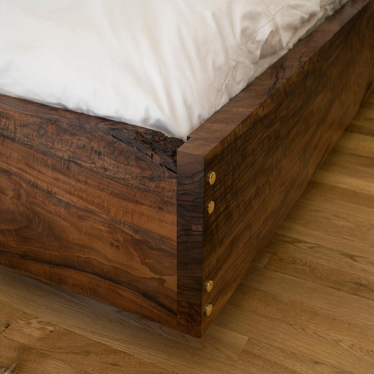 American Corset Bed in Polished Brass and California Walnut  For Sale