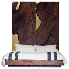 Corset Bed in Polished Brass and California Walnut