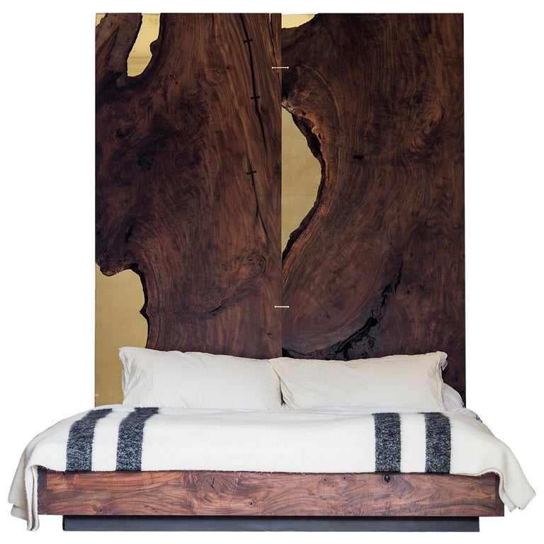 Corset Bed in Polished Brass and California Walnut  For Sale