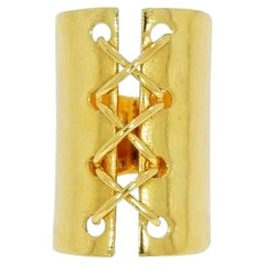 Corset Design Wide Yellow Gold Ring