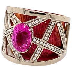 """""""Corset Ring"""", GIA Certified 4.02 Carat No Heat Pink Sapphire and Diamonds Ring"""