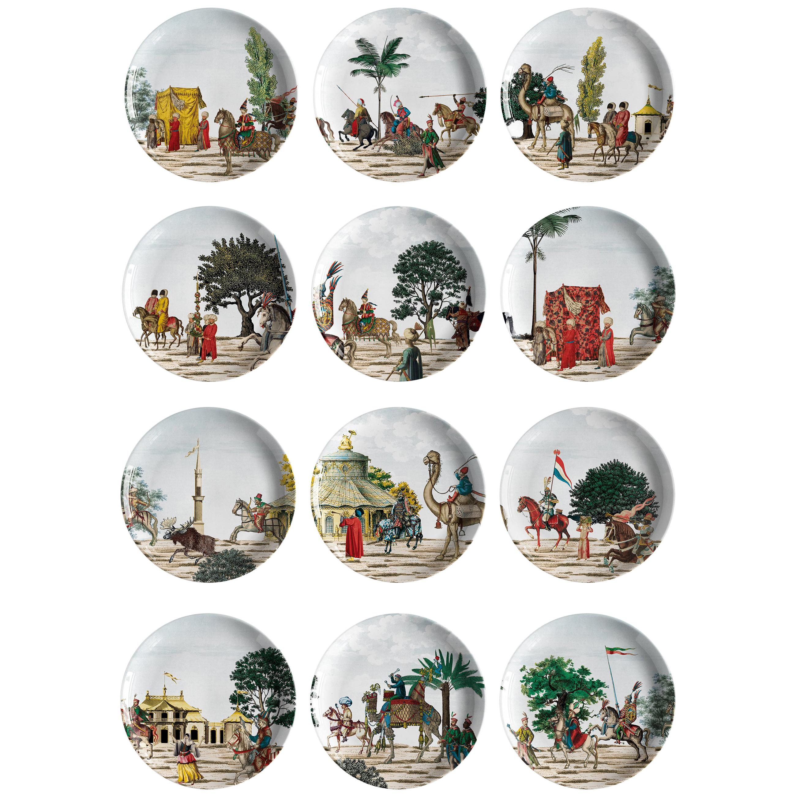 Corteo Porcelain Set of 12 Dessert Plates, Made in Italy