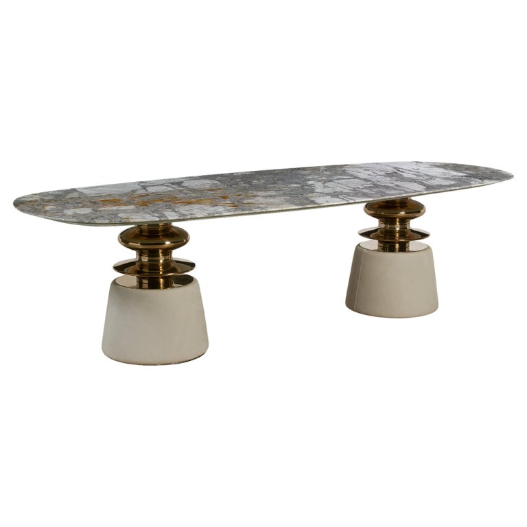 Cortes, Dining table with marble top For Sale
