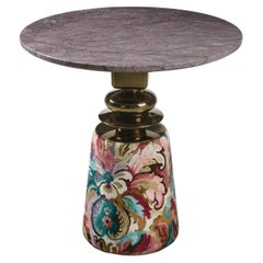 Cortes, Round Side Table with Marble Top