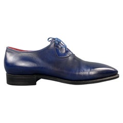 CORTHAY Size 10.5 Blue Antique Leather Lace Up SERGIO Dress Shoe